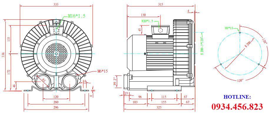 Cấu tạo máy thổi khí con sò Dargang DG-400-31