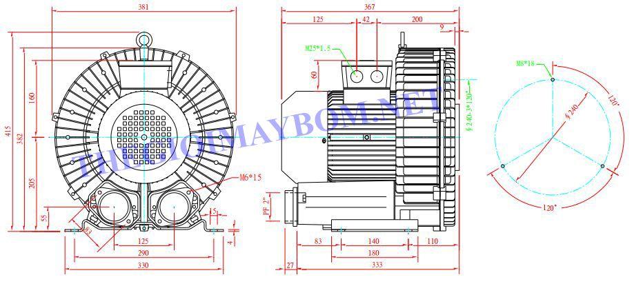 Cấu tạo máy thổi khí con sò Dargang DG-600-36