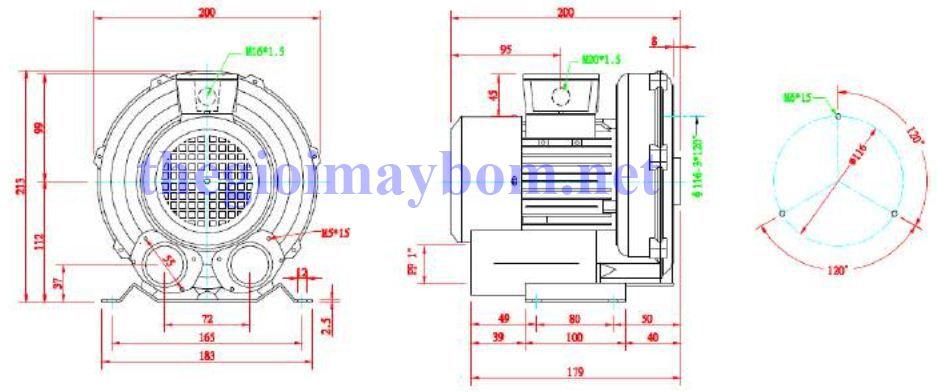 Cấu tạo máy thổi khí con sò Dargang DG-100-11