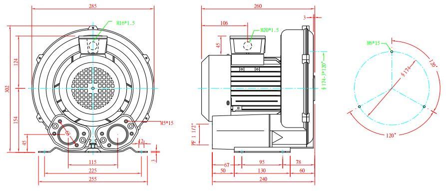 Cấu tạo máy thổi khí con sò Dargang DG-300-11