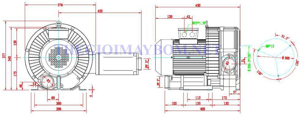 Cấu tạo máy thổi khí con sò 2 tầng cánh Dargang DG-430-26